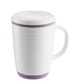 16 oz Tea Infuser Mug White/Lavender
