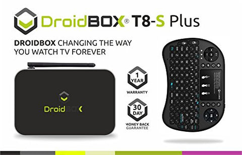 DroidBOXTM T8-S Plus V2 with i8 Mini-Keyboard Android 6.0.1 Powered Mini Computer SPMC/DBMC LibreELEC 17 Amlogic Smart TV BOX Chipset S905 GPU Mali-450 2GB RAM 32GB ROM 4K UltraHD HDMI 2.0a [W.i8]