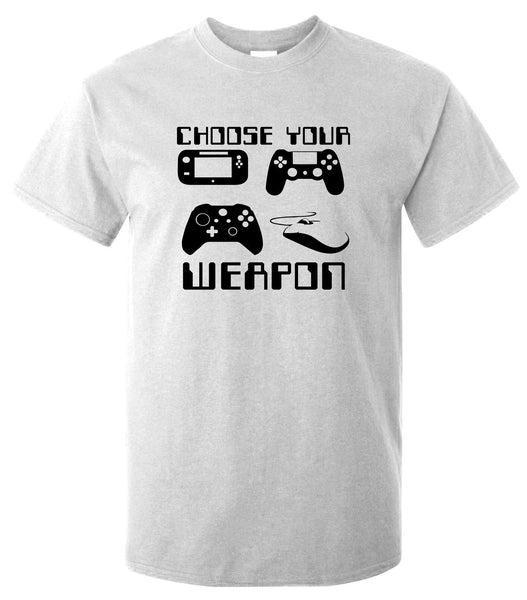 "Choose Your Weapon Gamer T-Shirt - Funny T Shirt Retro Console Gaming Pad Pc ""Short Sleeves Cotton Fashion T Shirt Free"