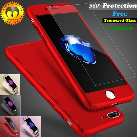 Ultra Thin Hard Case Cover For iPhone 6 6S 7 Plus + Tempered Glass