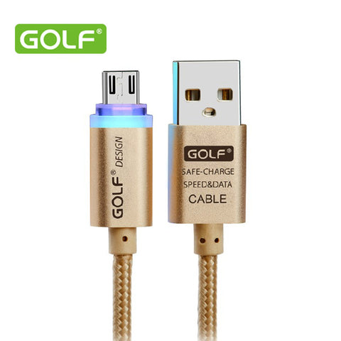 New Golf  Smart LED Micro USB Data Cable Crystal V8 Fast Charging