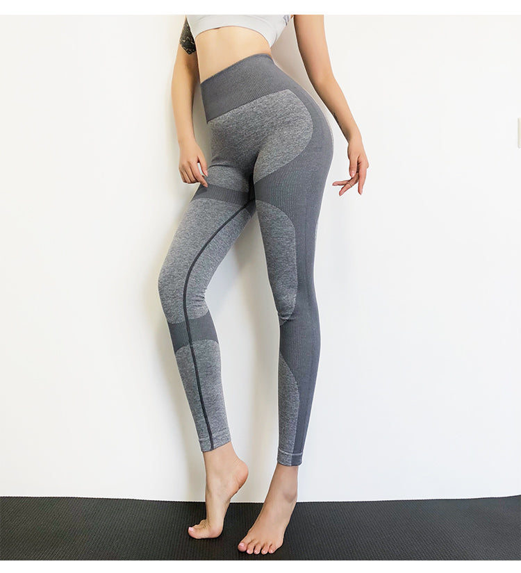 New High Waist Seamless Patchwork Yoga Pants - Buddha Vibrations