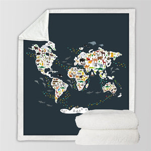World Map Sherpa Throw Blanket - Buddha Vibrations