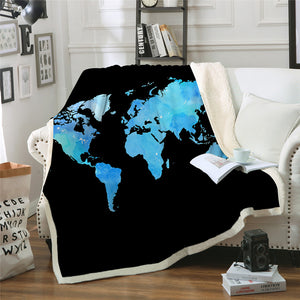 World Map Sherpa Throw Blanket