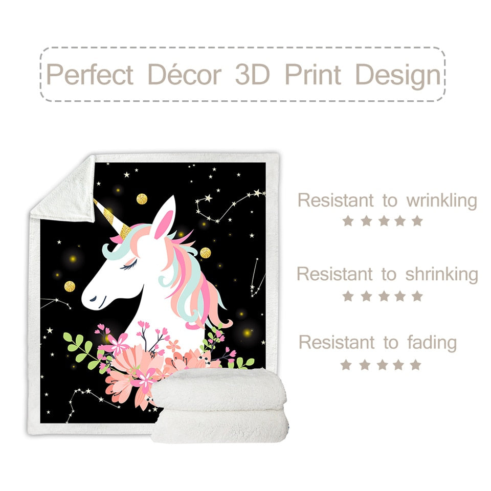 Unicorn Sherpa Throw Blanket