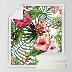 Tropical Plants Sherpa Throw Blanket - Buddha Vibrations
