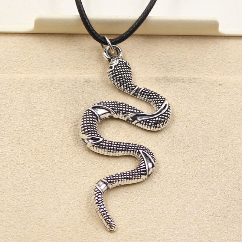 Tibetan Snake Necklace on Black Leather Cord - Buddha Vibrations