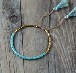 Gold  Tassels Adjustable Beads Bracelet Handmade - Buddha Vibrations