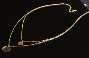 Hammered Disc Round  Coin Necklace