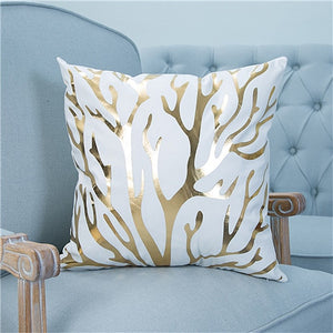 Gold Printed  Bronzing Pillow Cover