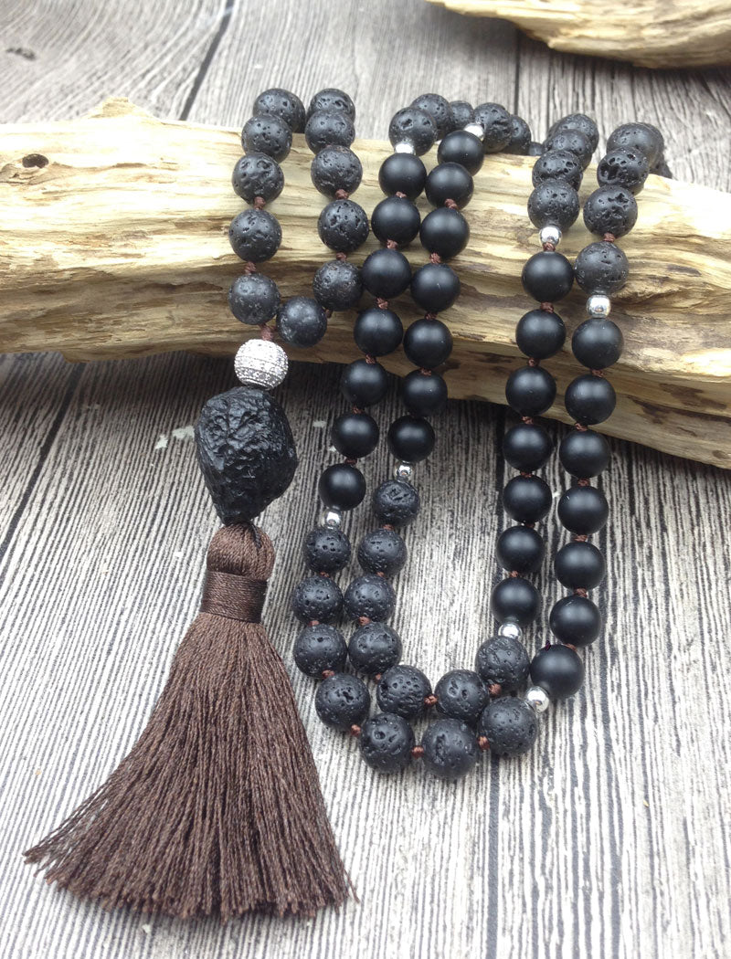 108 Beads Meteorolite Stone Necklace - Buddha Vibrations