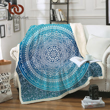 Load image into Gallery viewer, Turquoise Paisley Mandala Design Sherpa Fleece Blanket - Buddha Vibrations