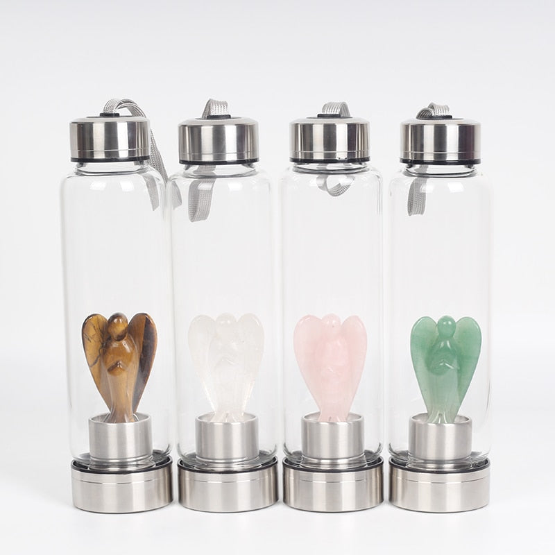 Natural Quartz Crystal Glass Elixir Water Bottles!!