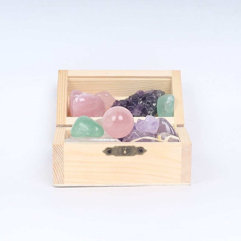 Natural Crystal Wooden Box  Precious  Gift - Buddha Vibrations
