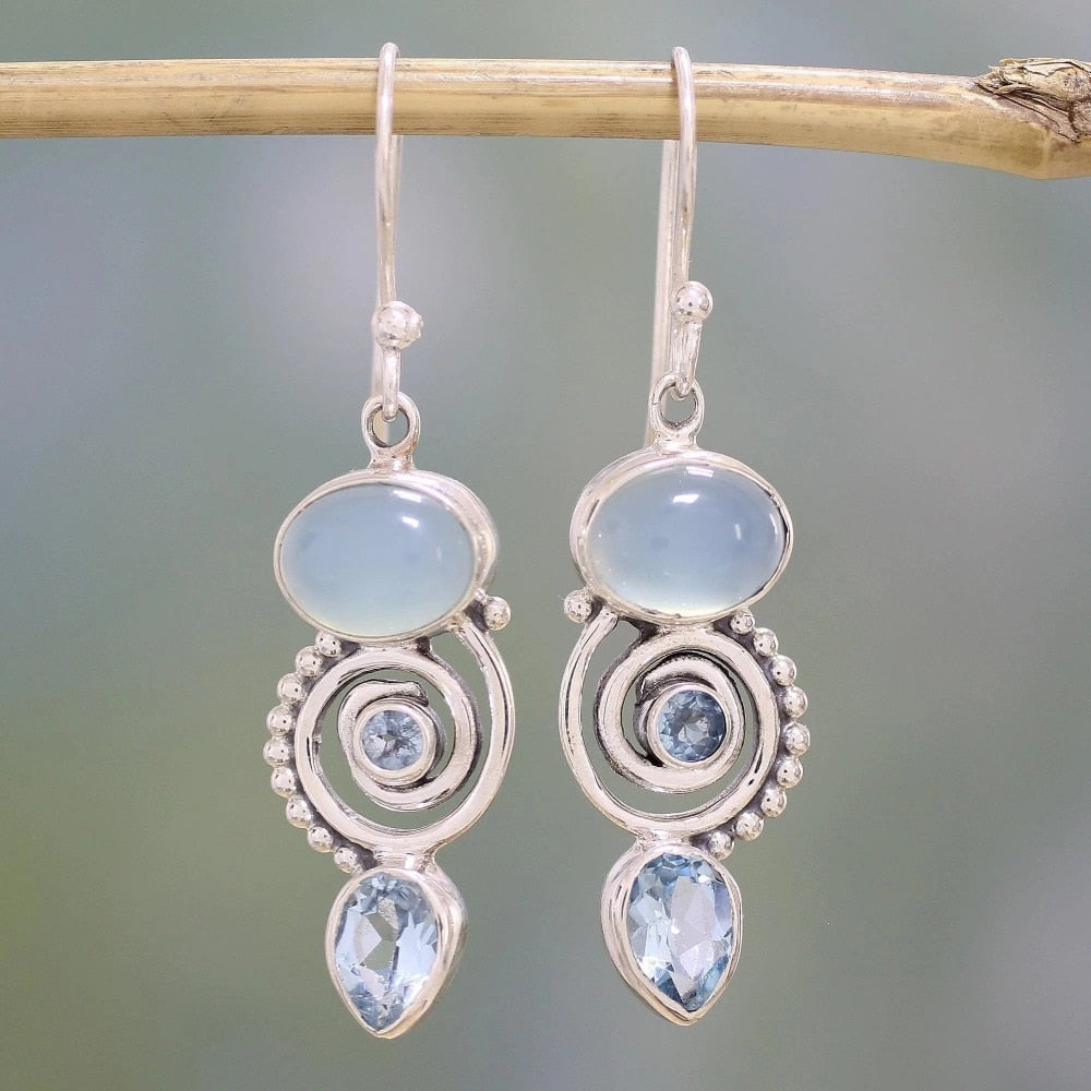 Exquisite  Sea Blue Stone Silver Earrings - Buddha Vibrations