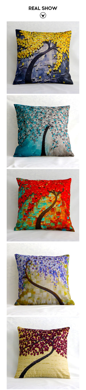 Floral Tree Linen Pillow Case - Buddha Vibrations