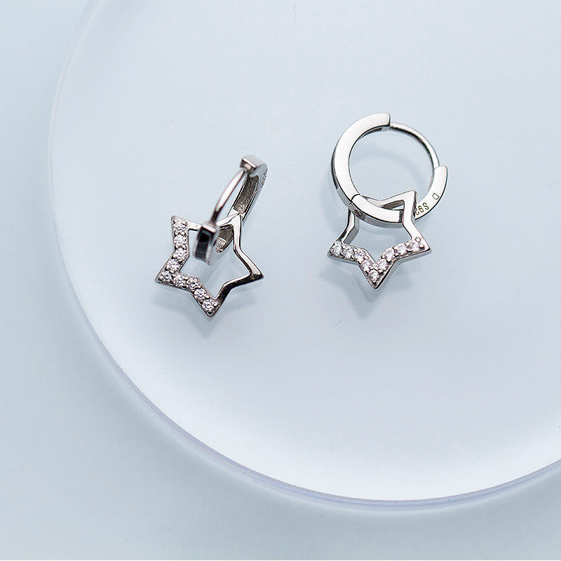 925 Sterling Silver Zircon Star  Hoop Earrings - Buddha Vibrations
