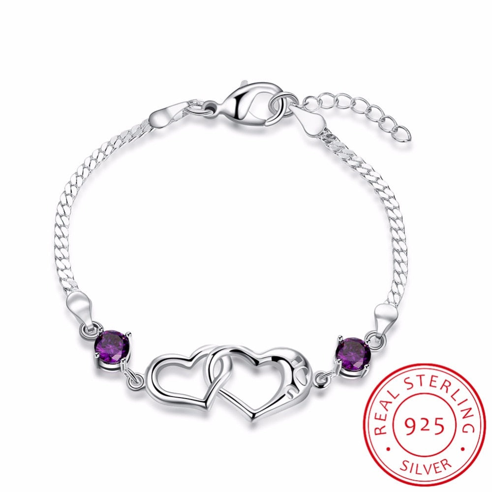 Double Heart Charm Bracelet 925 sterling silver - Buddha Vibrations