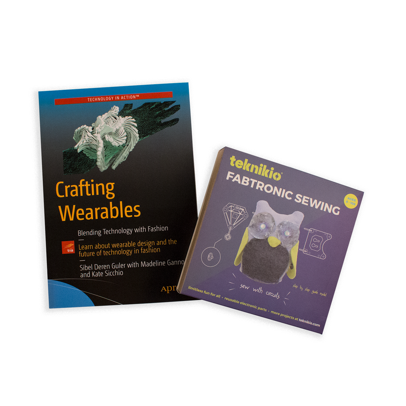 Cover of Crafting Wearables book by Deren Guler alongside Teknikio Fabtronic Sewing kit packaging