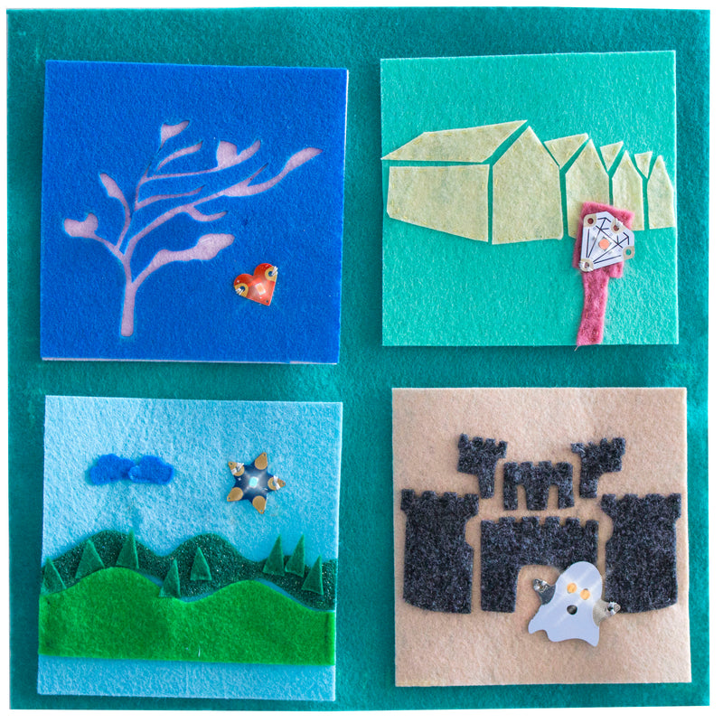Four sample quilt squares with LED board components