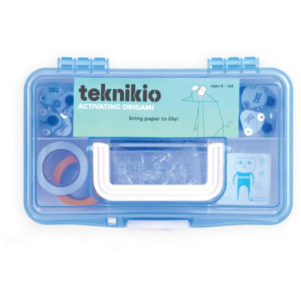 Teknikio Activating Origami bundle includes electronics components, sensors, and conductive materials in a custom case