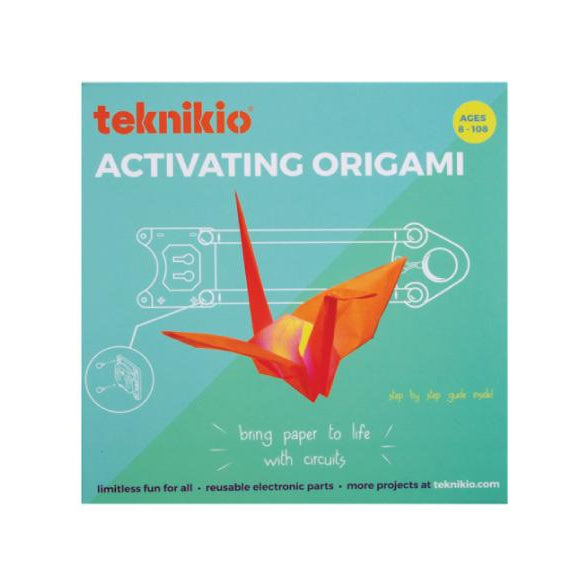 Teknikio Activating Origami Kit external packaging with image of an origami crane