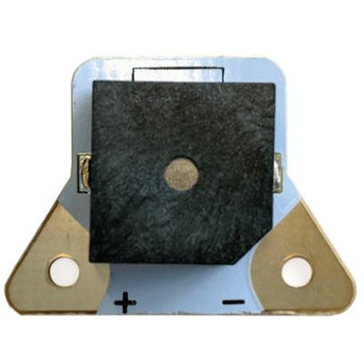 Back view of Teknikio buzzer beepboard electronic component (black, white, and gold)