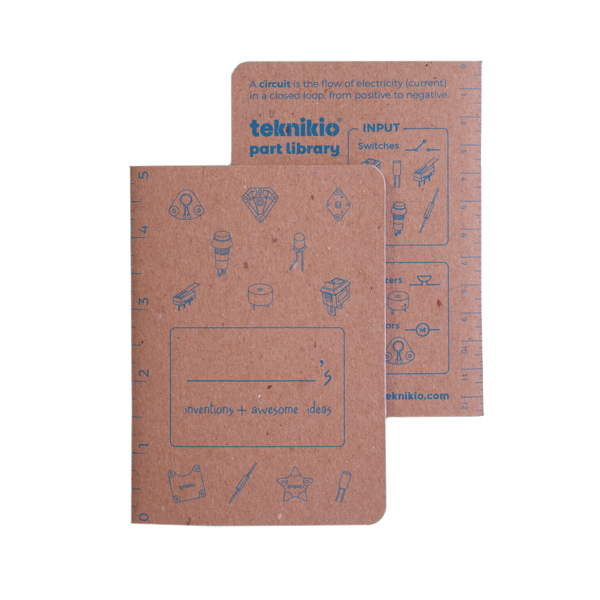 Front and back views of Teknikio pocket maker notebook, brown with blue type