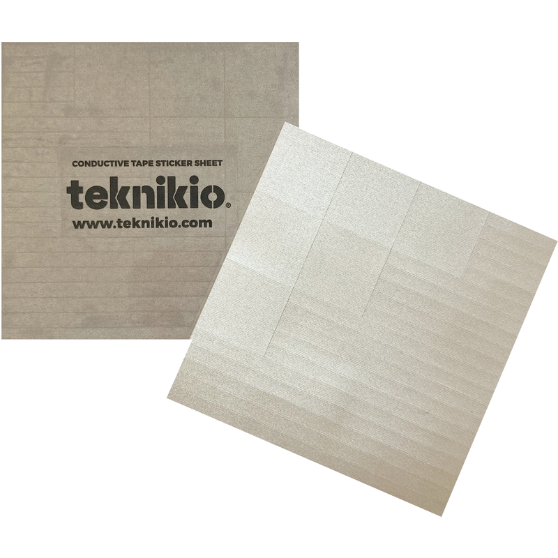 Two square sheets of Teknikio branded conductive stickers