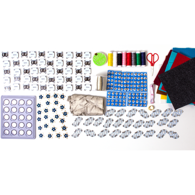Fabtronic Sewing Bundle all components, including thread, felt swatches, batteries, conductive thread, and electronics components