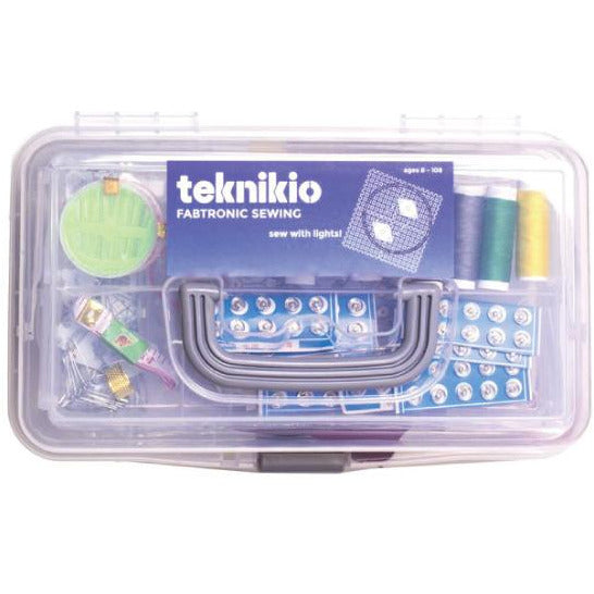 Teknikio Fabtronic Sewing bundle plastic case with handle and visible components