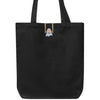 Black canvas tote back with Teknikio-branded ghost-shaped LED light sewn onto front