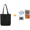 Black canvas tote bag alongside ghost-shaped LED board, battery holder, and coin cell battery
