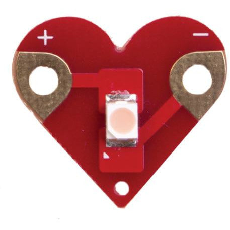 Teknikio sewable heart shaped LED board (red, white, gold)