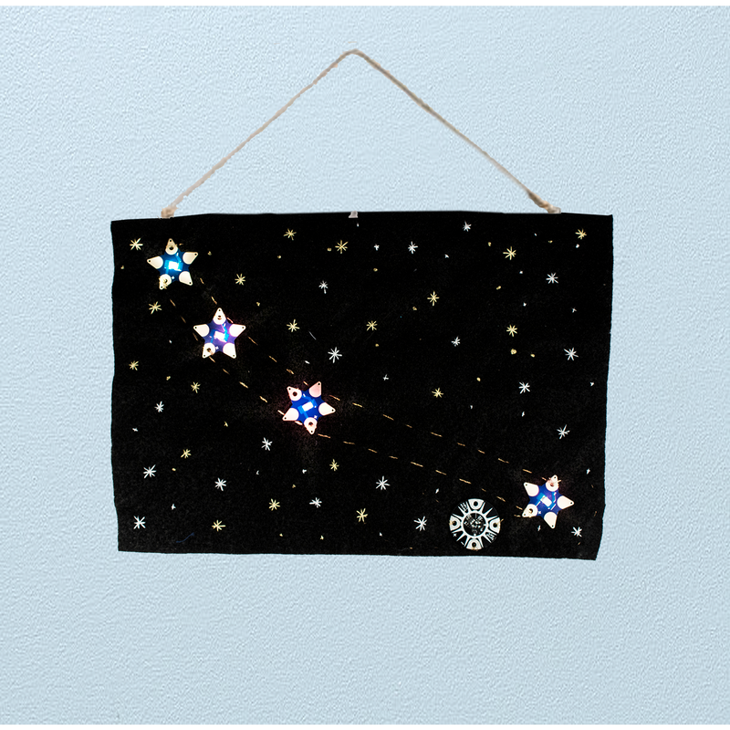 Photo of sample project consisting of wall hanging with Teknikio star LEDboards on black felt