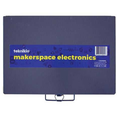 Top view of Teknikio Makerspace Electronics bundle dark blue metal case with handle