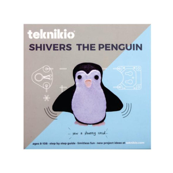 Teknikio Shivers the Penguin kit packaging with felt penguin
