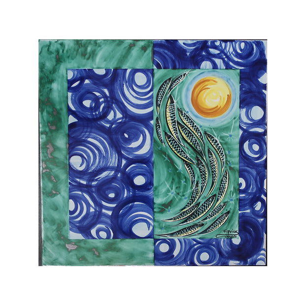 Italian Sea Ceramic Tile Wall Art With Anchovies