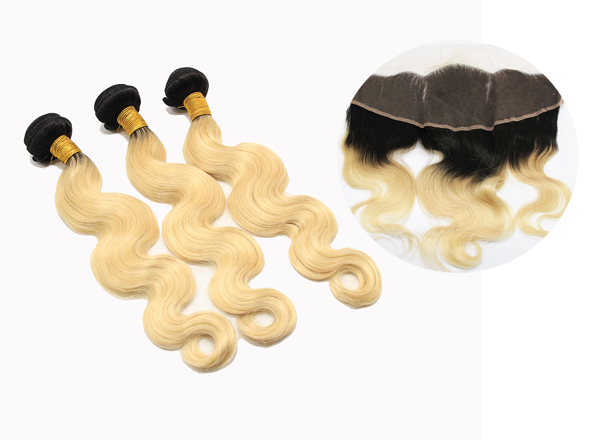 Dark Root Blonde 3 Bundles & A Frontal Closure
