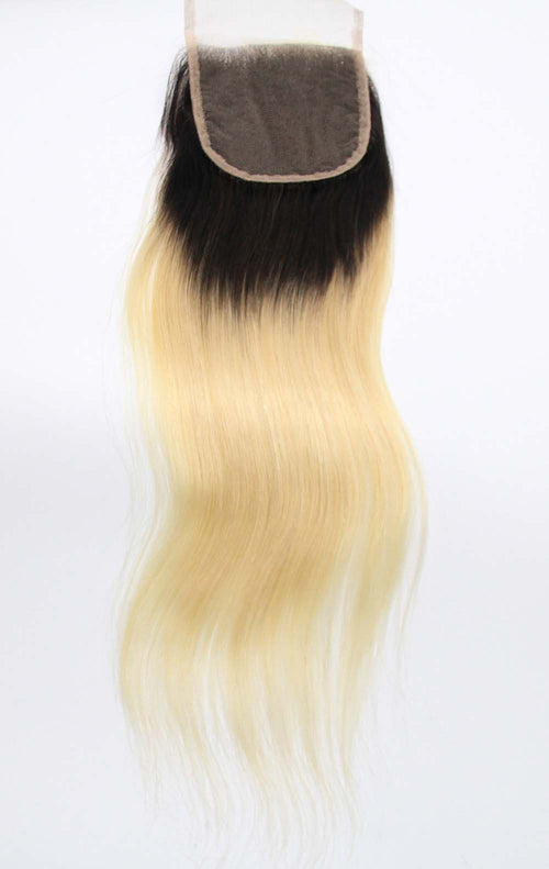 "4""x4"" Dark Root Blonde Lace Closure"