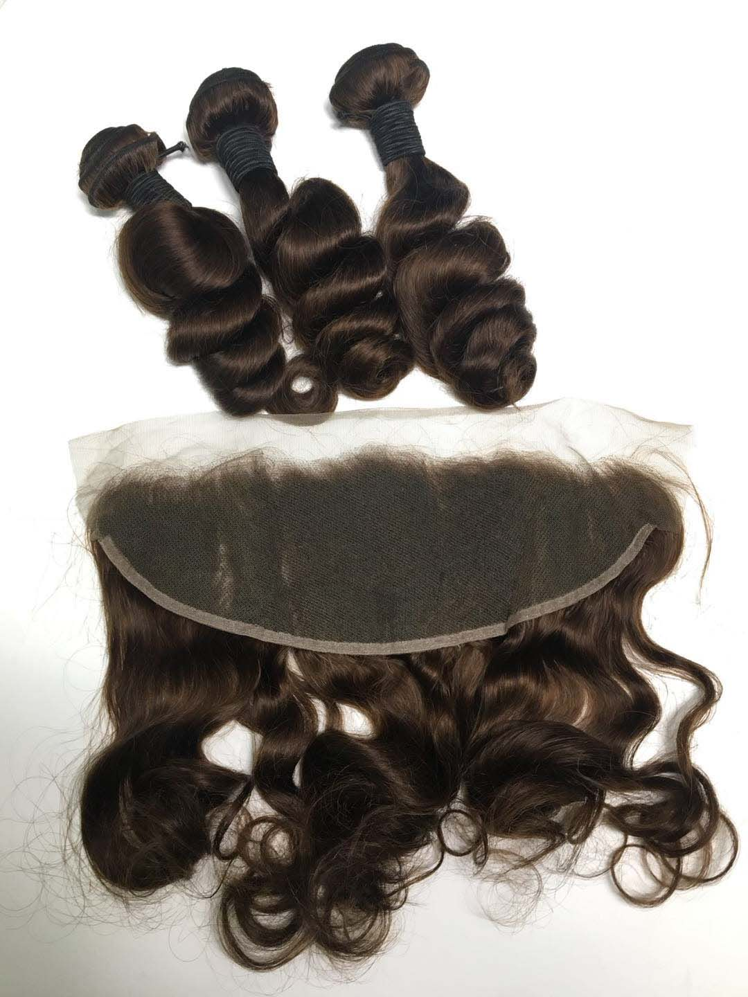 3 Bundles Metal Brown Tight Loose Wave & A Frontal