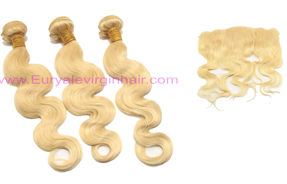 platinum blonde 3 bundles & a frontal closure