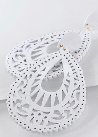 Large white laser cut earrings