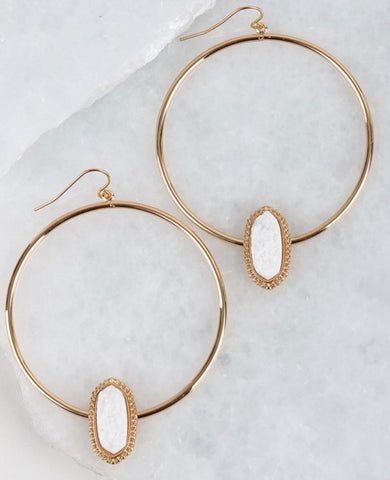 Gold with white druzy earrings
