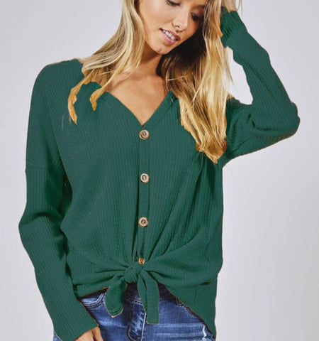 Long sleeve thermal tie front top