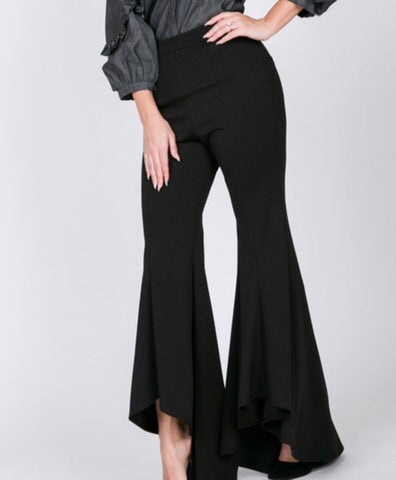 Hi low ruffle bottom flare pants