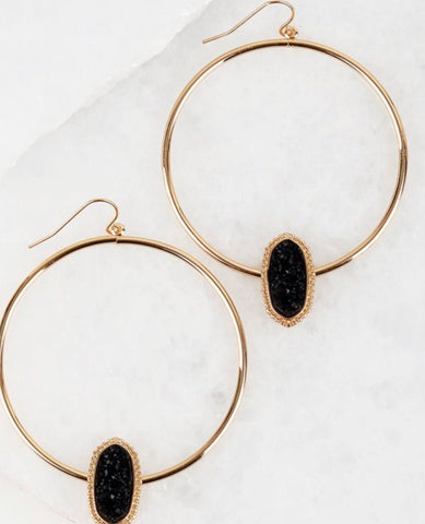 Gold with black druzy earrings