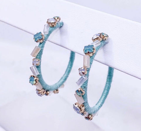 Mint threaded hoop earrings