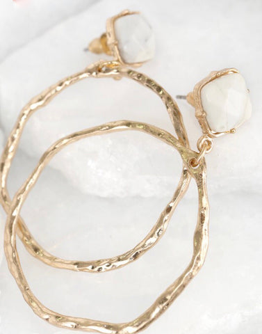 White marble stud with gold hoop