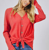 Deep coral thermal long sleeve front tie top